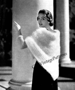 Knitted Ladies Triangular Shawl Pattern, Instant Download Pattern,1950's Evening Wrap