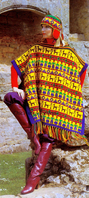 Knitted Ladies Poncho Pattern, Fringed Peruvian Style Ladies Poncho and Hat, Instant Download
