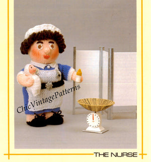 Knitted Soft Toy Pattern, The Nurse Doll, Instant Download