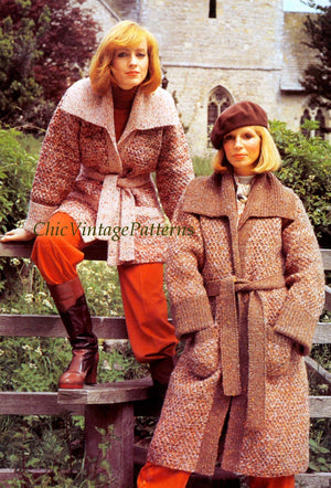 Knitted Ladies Coat Pattern, Long or Short Belted Coat, Instant Download