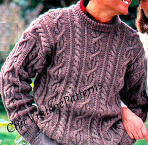Aran Sweaters, His & Her Jumper Knitting Pattern, Classic Crew Neck, Instant Download