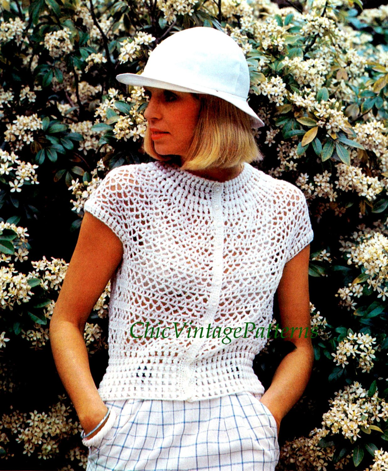 Crochet Top Pattern, Ladies Summer Blouse, Instant Download