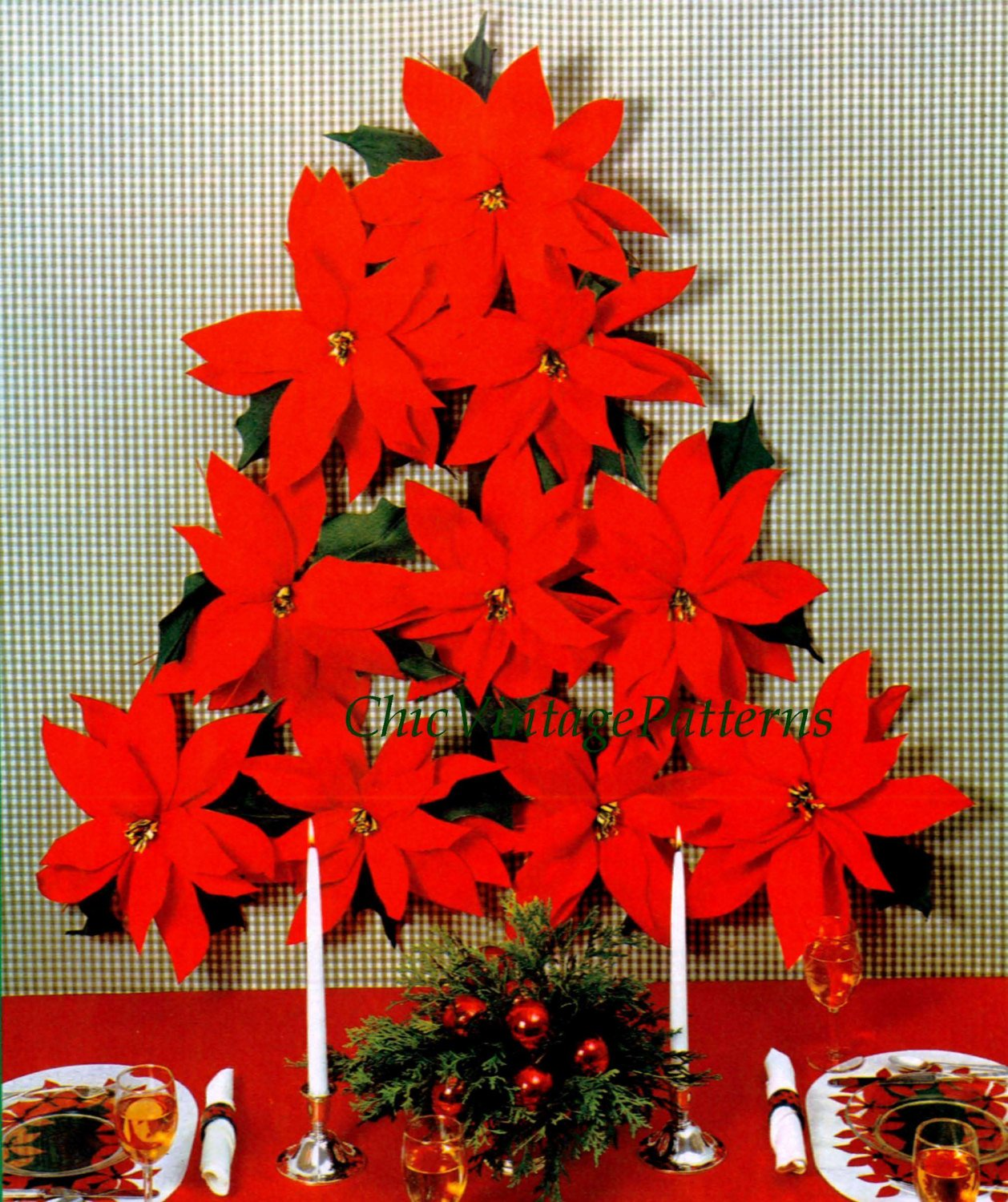 Christmas Wall Decoration, Poinsettia Flowers Pattern, Instant Download