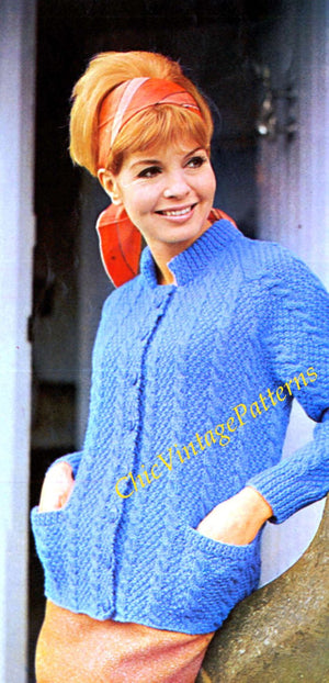 Knitted Ladies Aran Cardigan Pattern, Instant Download