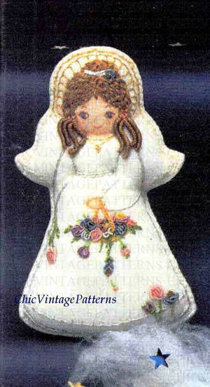 Christmas Angel Pattern, Embroidered Angel, PDF Embroidery Pattern