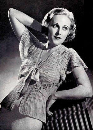 Ladies Bed Jacket Pattern, 1930's Knitted Bed Jacket, Instant Download