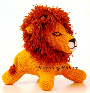 Crochet Toy Lion Pattern, Lion Soft Toy, Vintage PDF Crochet Pattern, Super Soft Toy