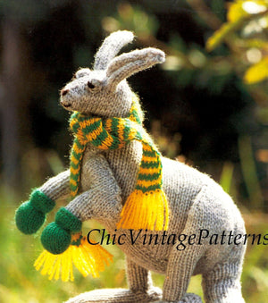 Knitted Kangaroo Pattern, Toy Pattern, Australian Kangaroo, Instant Download