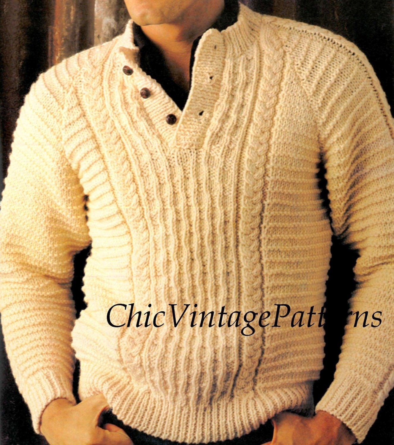 Mens Knitted Sweater Pattern Classic Cable Chicvintagepatterns