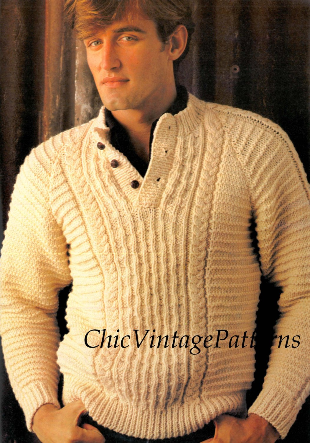 Mens Knitted Sweater Pattern Classic Vintage Cable Pdf Knitting