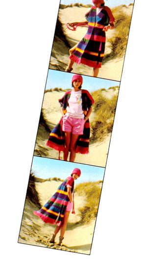 Knitted Coat and Hat, Ladies Multicoloured Vest with Fringe, Instant Download