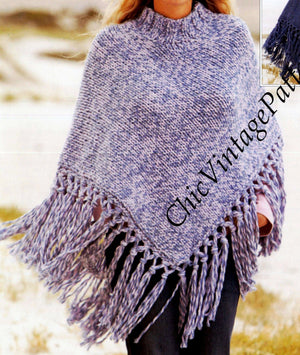 Knitted Poncho Pattern, Ladies and Girls Fringed  Poncho, Digital Download