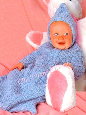 Babies Knitted Sleeping Bag Pattern, Hooded, Instant Download