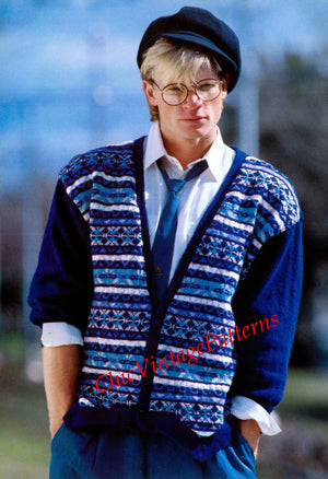 Knitted Men's Cardigan Pattern, Fair isle Men's Jacket, Instant Download