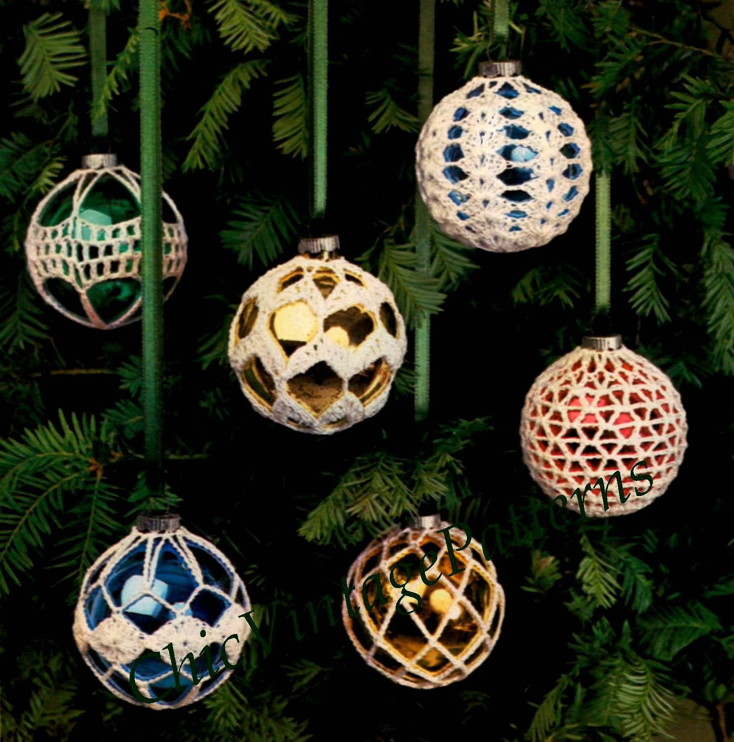 Christmas Baubles Crochet Pattern, Frosted Tree Balls, Instant Download