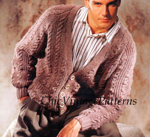 Knitted Men's Cardigan, Cable Pattern, Men's Jacket, Digital pattern