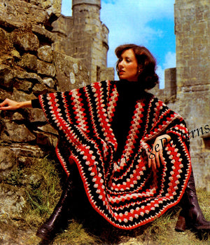 Crochet Ladies Poncho Pattern, Easy Pattern, Instant Download