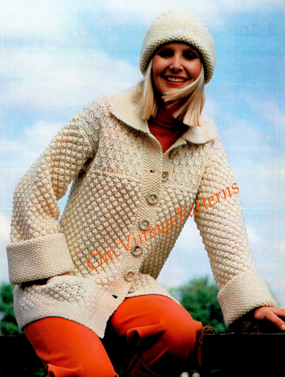 Knitted Jacket and Hat Pattern, Ladies Cardigan, Digital Pattern