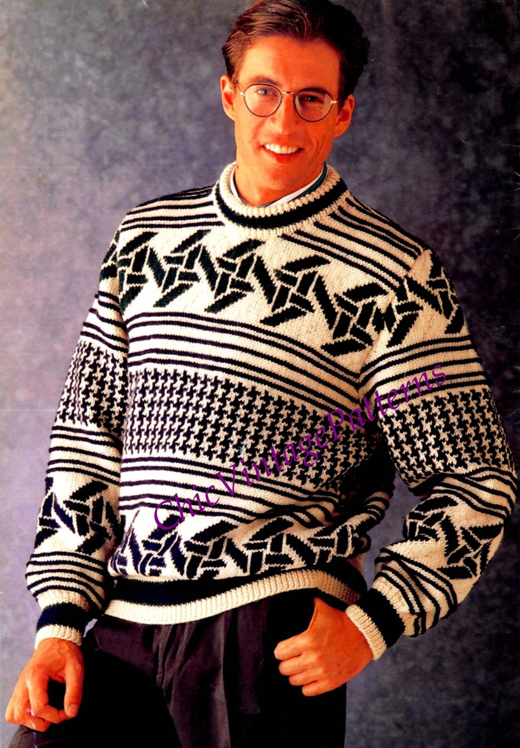 Knitted Men's Fair Isle Sweater Pattern, Instant Download