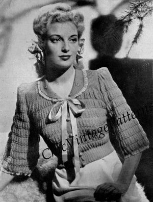 Ladies Bed Jacket Pattern, 1940's Knitted Dressing Jacket, Digital Pattern