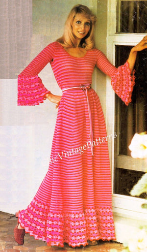 Crochet Ladies Dress Pattern, Party, Dinner, Wedding Dress, Instant Download