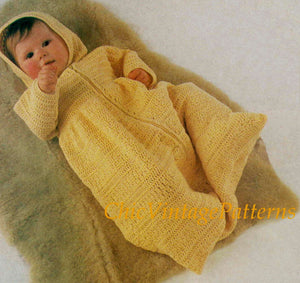 Babies Crochet Sleeping Bag, Dressing Gown, Instant Download