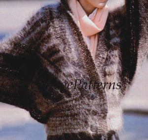 Knitted Cardigan, Ladies Batwing Sleeve Jacket, Casual Elegance, Instant Download