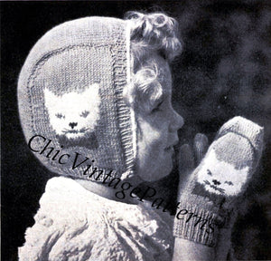 Child's Hat and Mittens Knitting Pattern, Fits 2 - 4 Years, Instant Download
