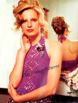 Crochet Ladies Top Pattern, Halter Neck Top, PDF Crochet Pattern