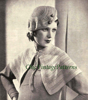 Crochet Beret and Cape, 1930's Vintage Pattern, Instant Download