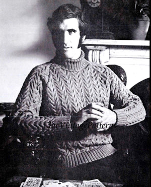 Knitted Men's Sweater Pattern, Cable Jumper with Polo Collar, Instant Download