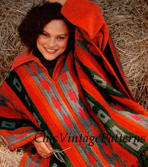 Crochet Poncho Pattern, Ladies Fringed Poncho, Instant Download