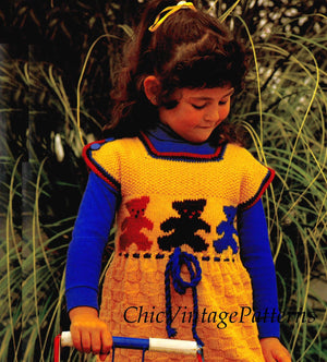 Fair isle Trim Girl's Knitted Dress, Goldilocks Dress, Instant Download