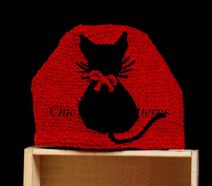 Knitted Tea Cosy Pattern, Kitten Motif Cosy, Instant Download