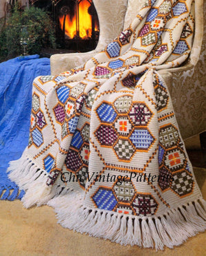 Crochet Afghan Pattern, Patchwork Embroidered Rug, Instant Download