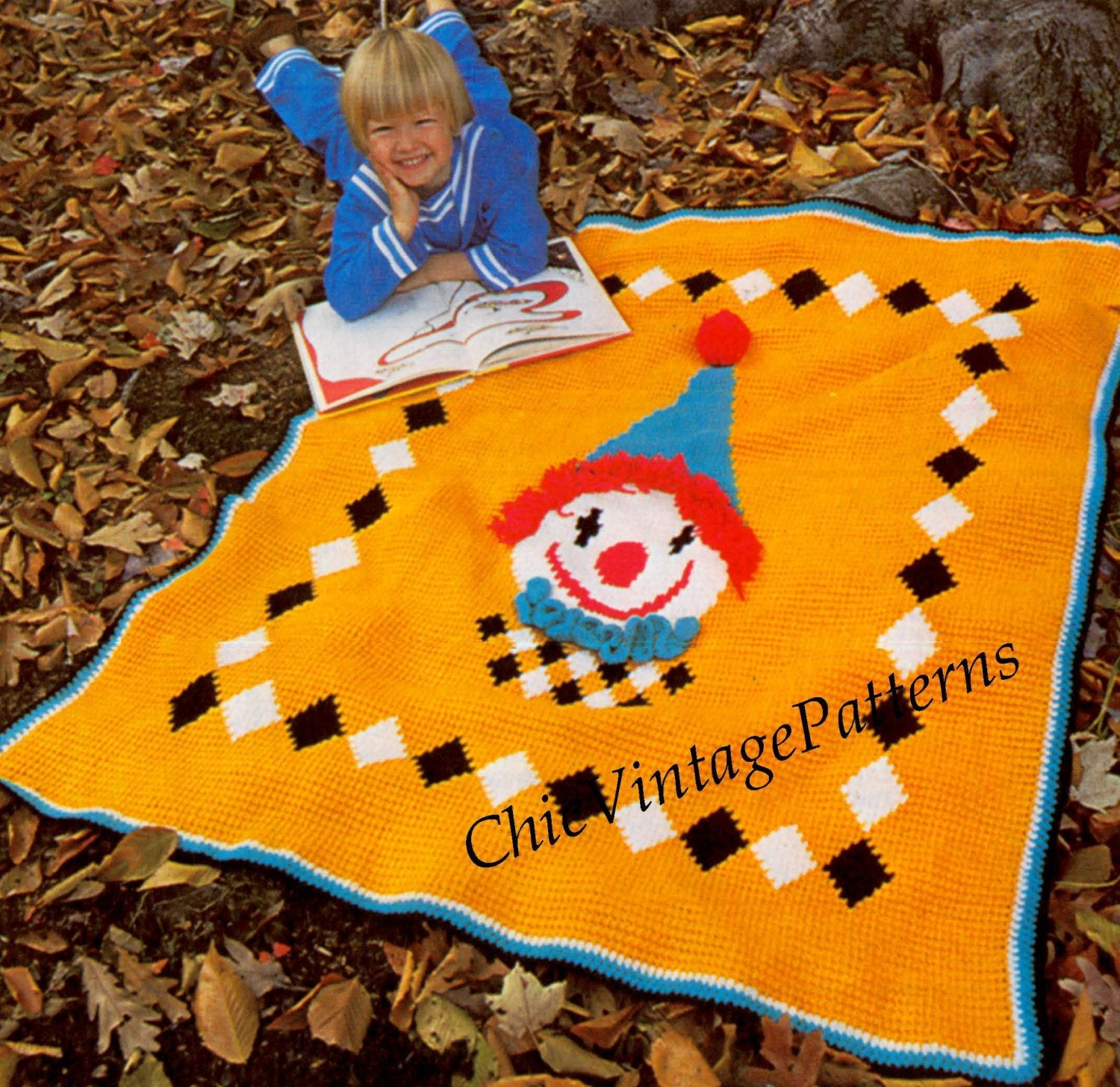 Childrens Clown Rug Crochet Pattern, Bed Afghan, Instant Download