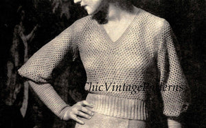 Ladies Sweater Pattern, 1930's Crochet Jumper, PDF Crochet Pattern