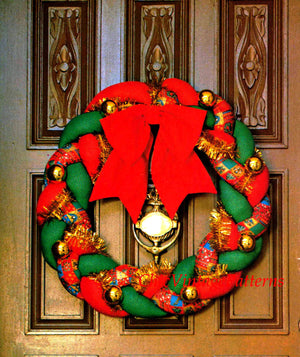 Christmas Wreath Sewing Pattern, Easy Door Wreath, Instant Download Pattern