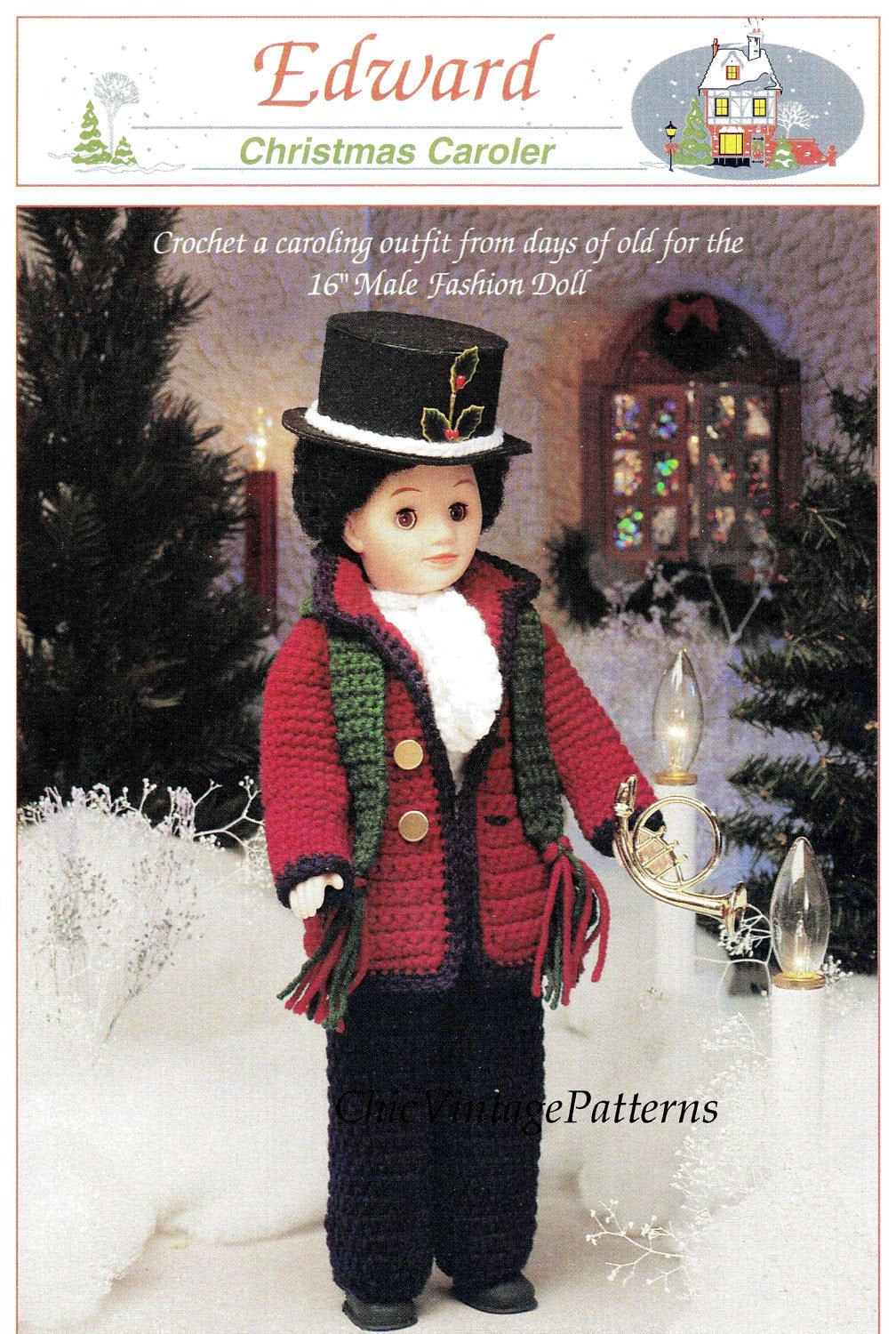 Christmas Caroler Doll Pattern, Period Victorian Dolls Clothes, Instant Download