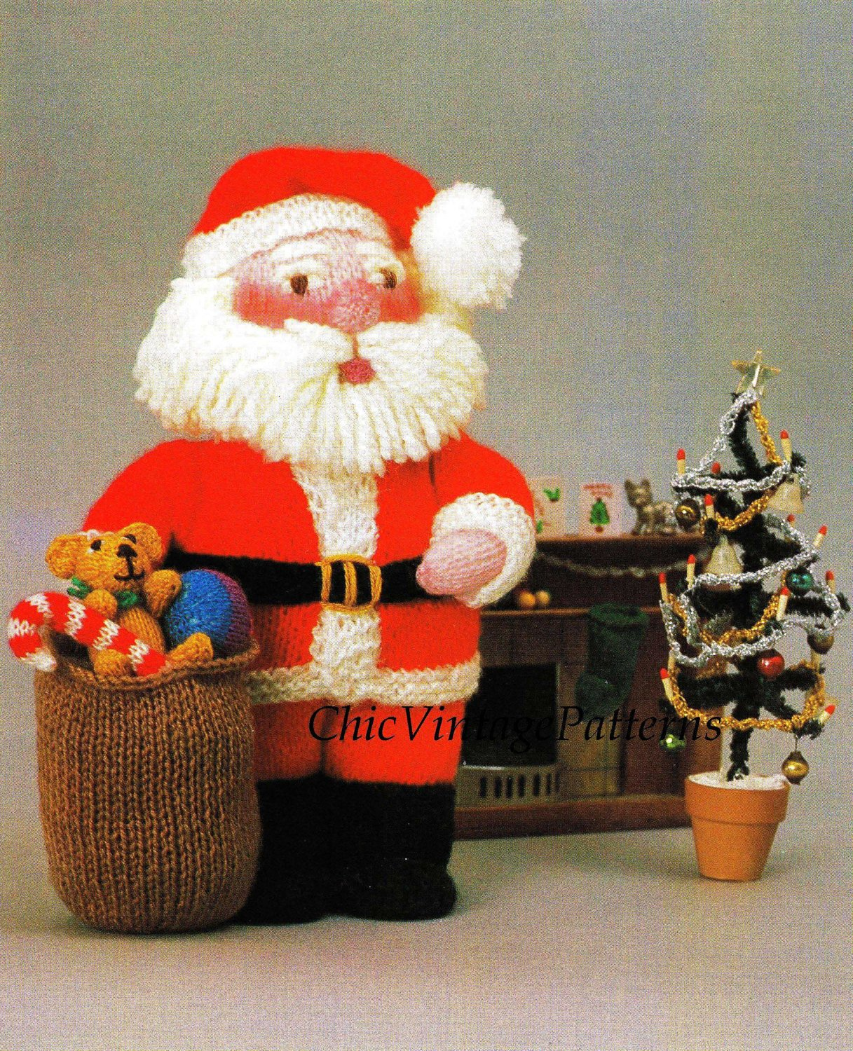 Knitted Santa Soft Toy Pattern, Christmas Pattern, Instant Download