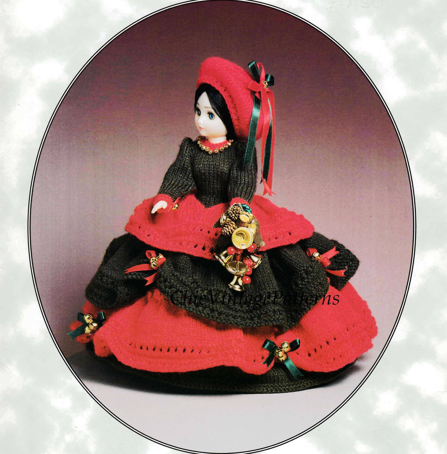 Christmas Belle Knitted Doll's Dress, 15 inch Doll, Instant Download, Christmas Decoration