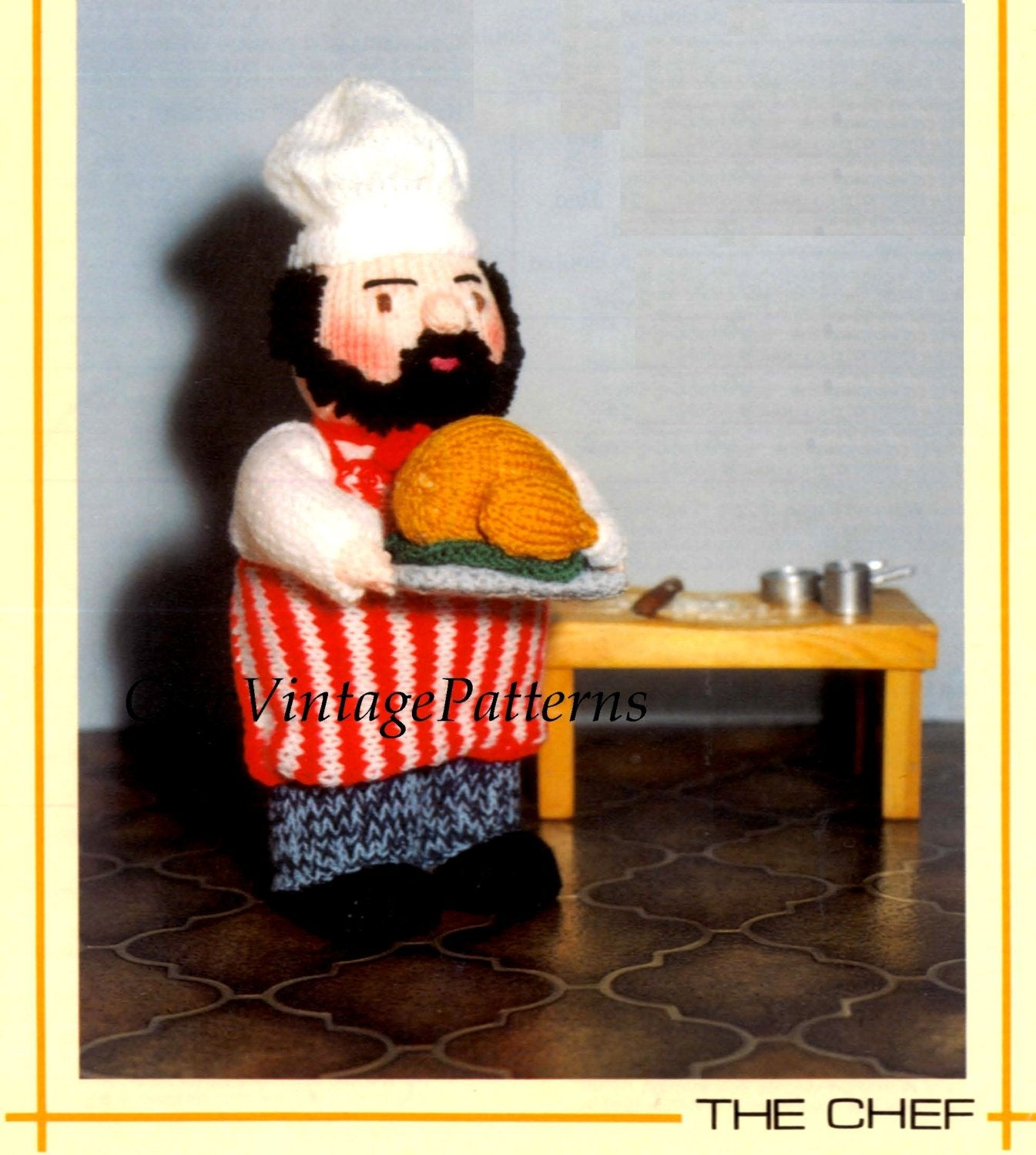 Knitted Soft Toy Pattern, The Chef Doll, Instant Download Pattern