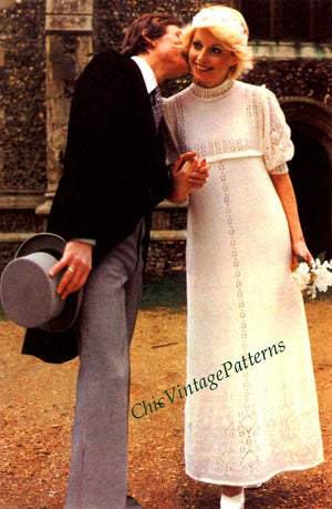 Knitted Wedding Dress Pattern, Instant Download, Beautiful Lace Detail