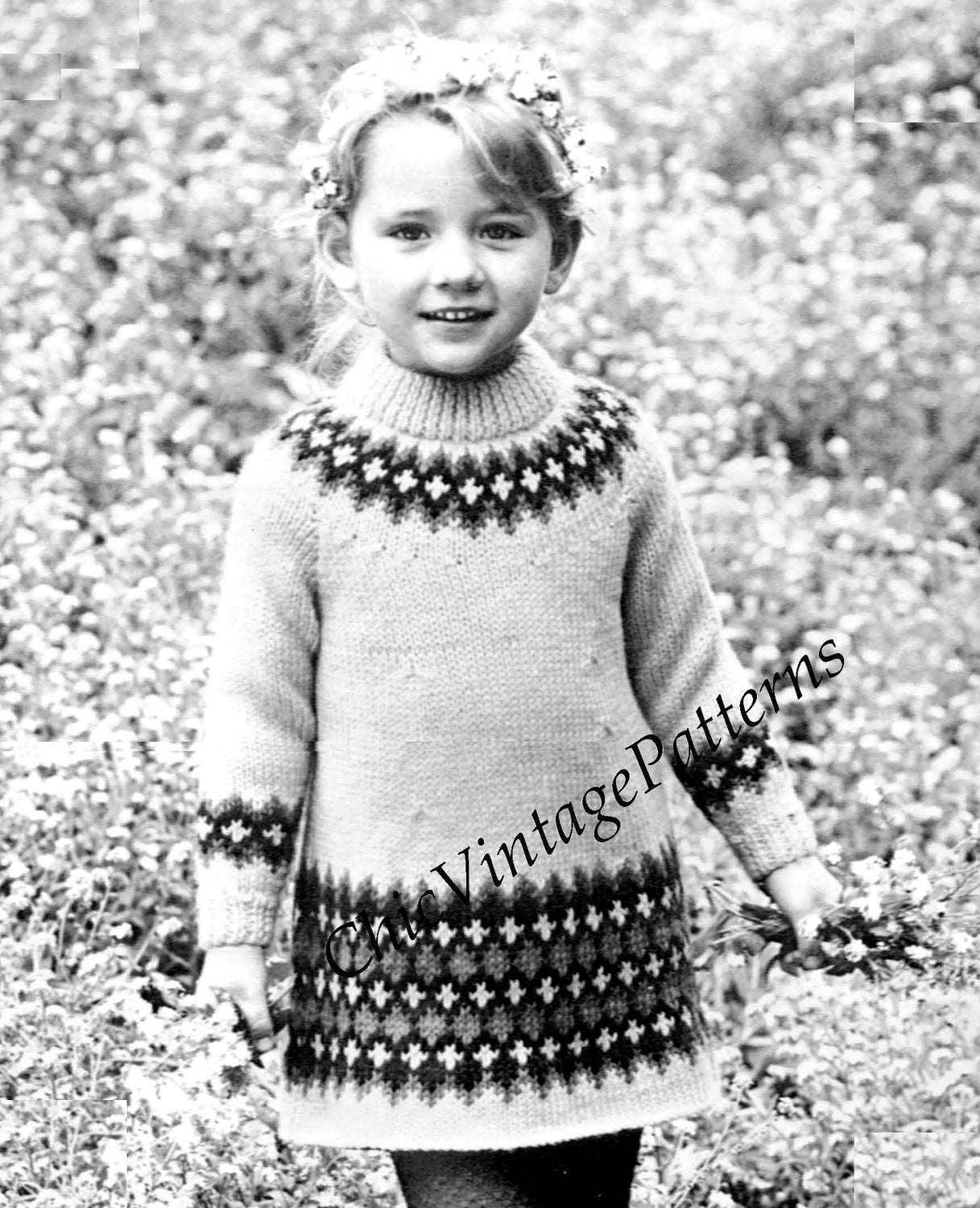 Girl's Knitted Dress Pattern, Fair Isle Trim Dress, Instant Download