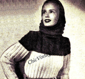 Knitted Sweater, Hood and Mittens Pattern, 1940's Ski-ing Set, Instant Download