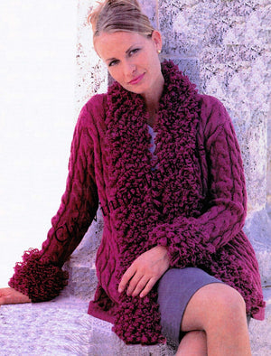 Ladies Knitted Cable Cardigan PDF Pattern, Detachable Poodle Knit Collar and Cuffs