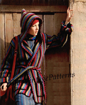 Crochet Jacket Pattern, Ladies Hooded Wrap Coat and Hat, Instant Download