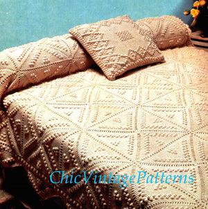 Crochet Bedspread and Cushion Pattern, Home Decor, Instant Download
