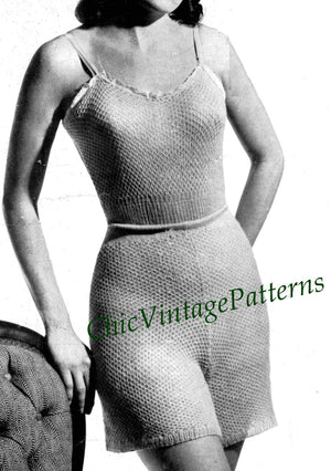Ladies Vest and Pants, 1940's Knitted Lingerie Pattern, Instant Download
