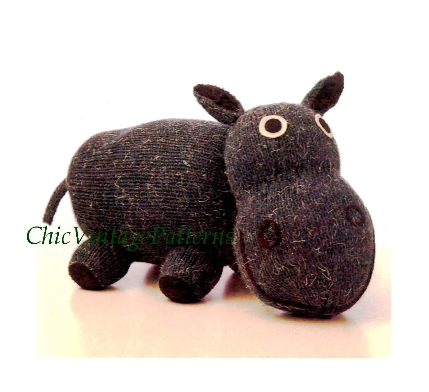 Knitted Hippopotamus Pattern, Soft Toy Pattern, Instant Download